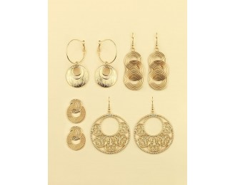4pairs Hollow Out Round Earrings Set