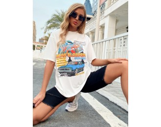 Car And Letter Graphic Drop Shoulder Tee