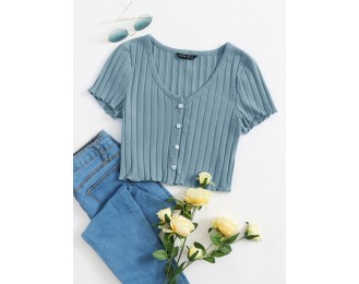 Button Up Rib-knit Crop Top